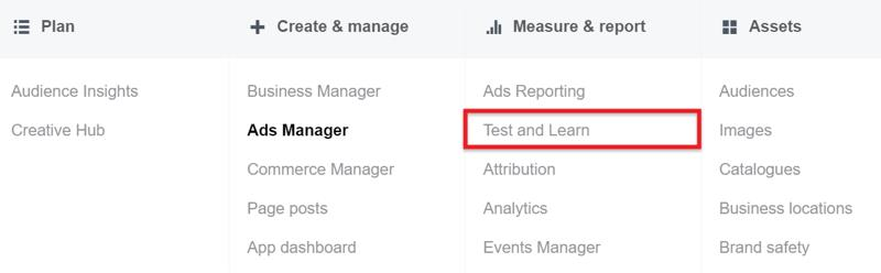 Test and Learn Tool Facebook